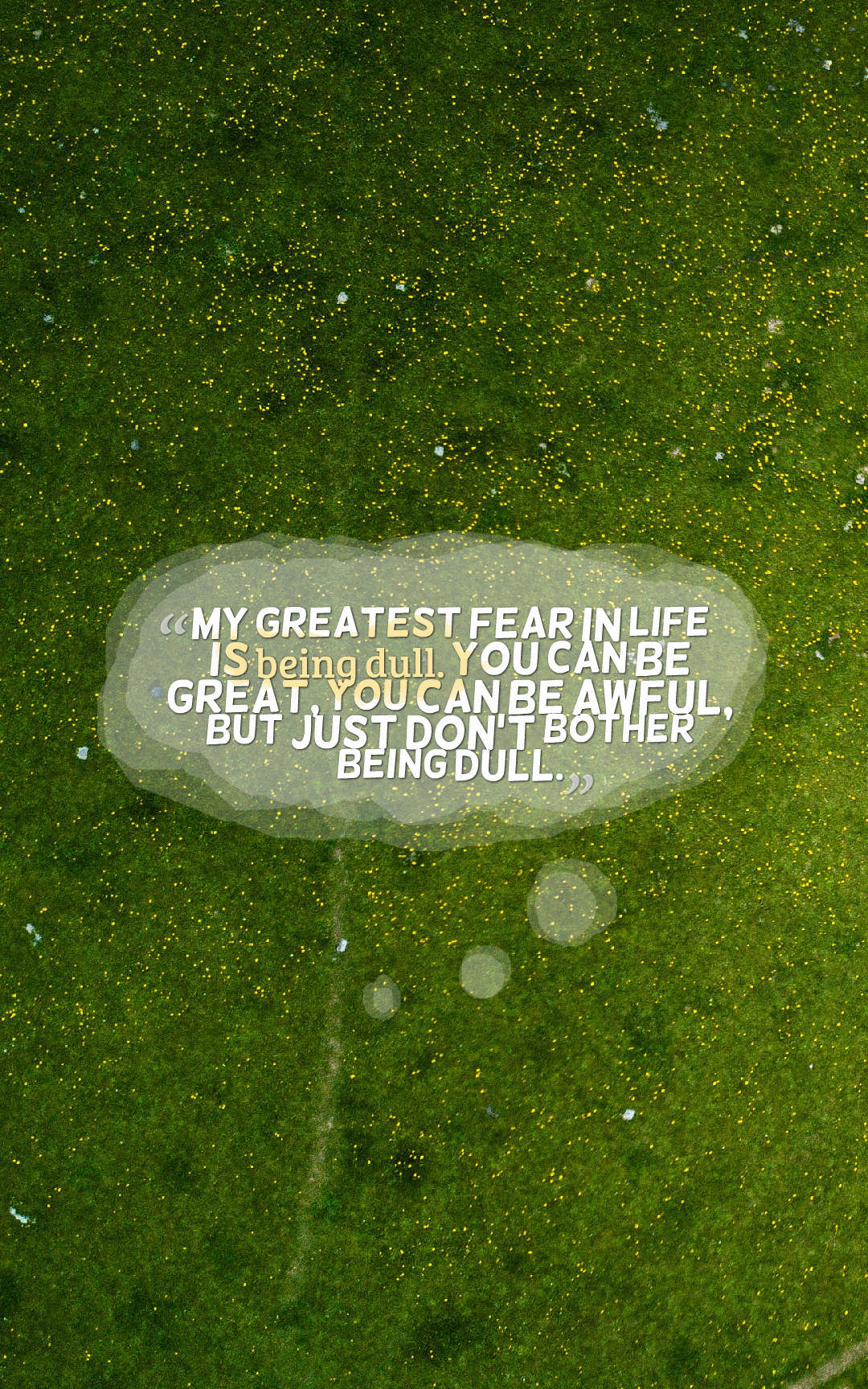 Quotes image of My greatest fear in life is being dull. You can be great, you can be awful, but just don't bother being dull.