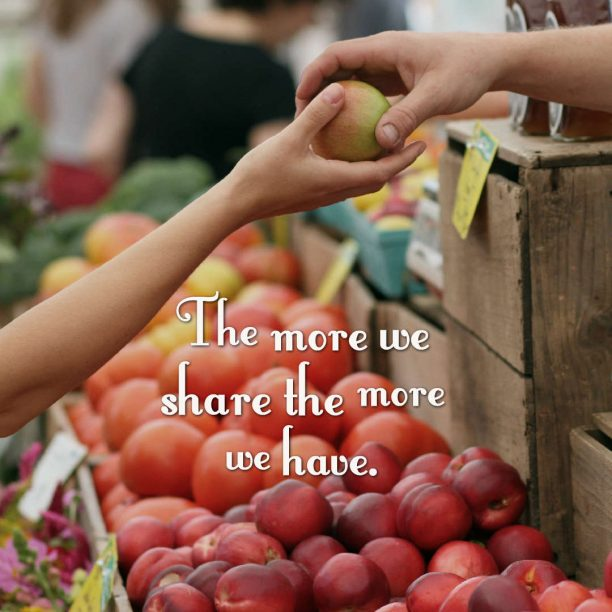 's quote about sharing. The more we share the…
