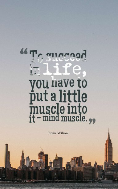 Brian Wilson 's quote about mind,muscle,success. To succeed in life, you…