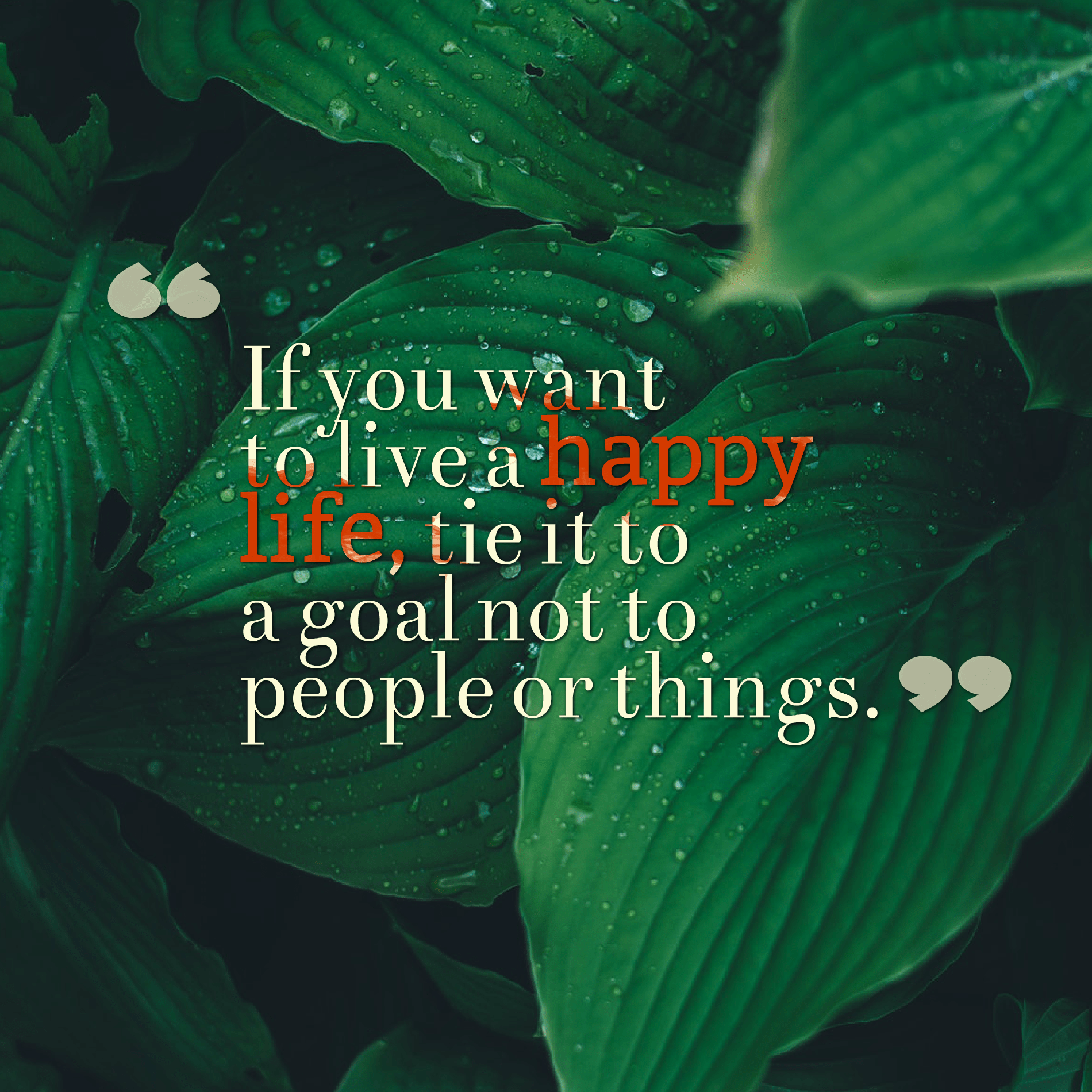 Quotes image of If you want to live a happy life, tie it to a goal not to people or things.