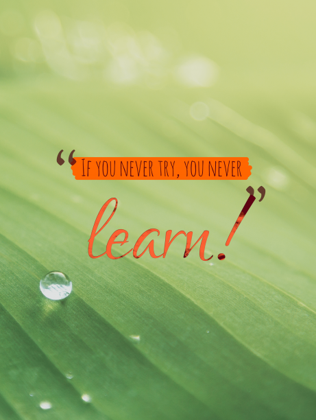 If you never try, you never learn!
